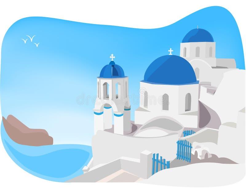 Santorini, Greece. Blue and white churches of Oia village, Santorini, Greece vector illustration