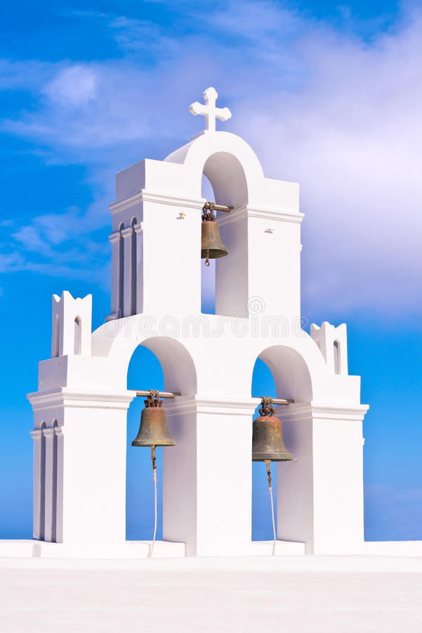 Free Santorini Greece Church Crosses And Bells Against Blue Sky Stock Images - 67056314