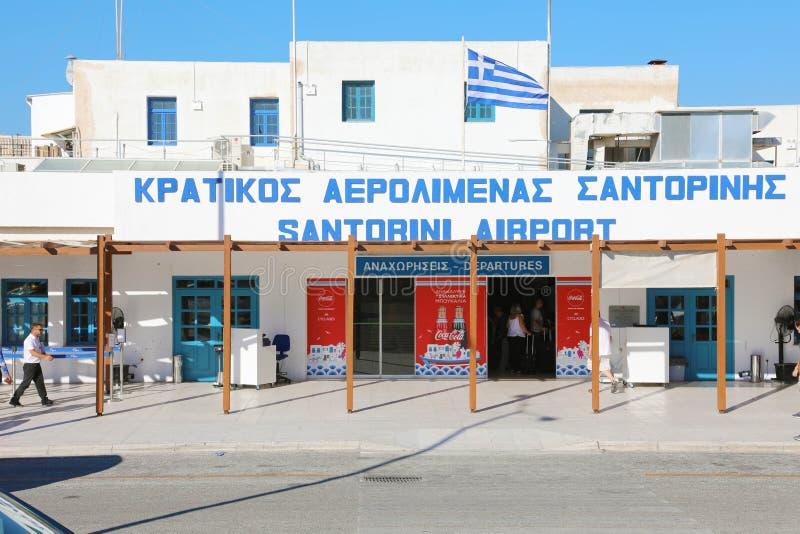 SANTORINI, GREECE - JULY 2018: entrance of Santorini airport stock photography