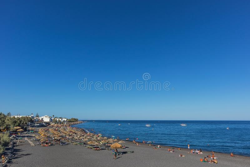 SANTORINI/GREECE 05 SEP - Kamari beach in Santorini, Greece. Europe stock photo