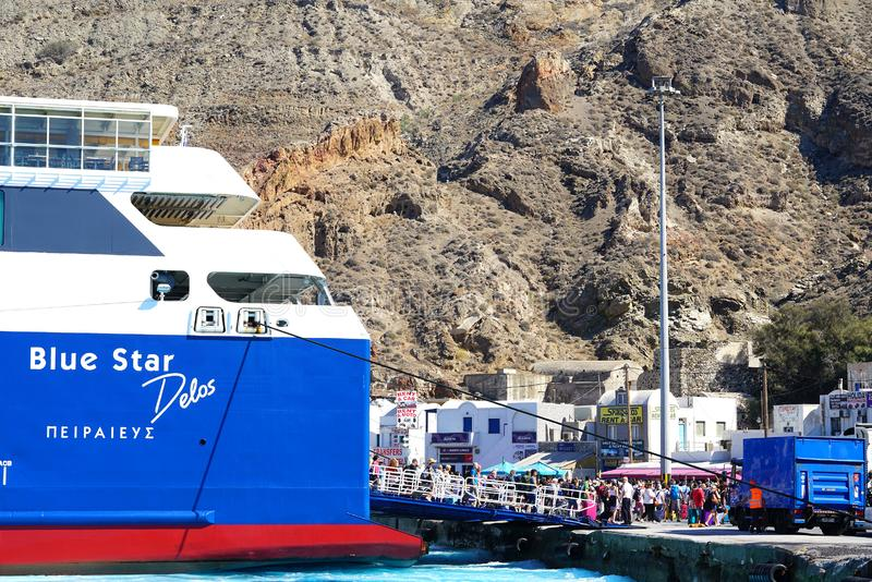 Santorini, Greece, September 24 2018, tourists from all over the world arrive or depart from the port. Of Thira royalty free stock photos