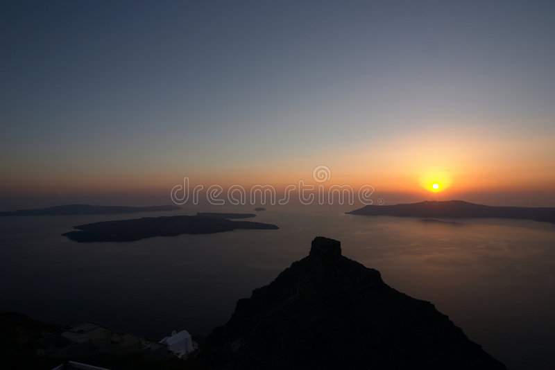 Santorini, Greece, sunset. View on volcano stock photo