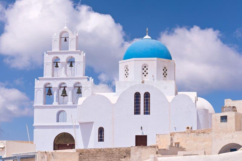Santorini Greece White Church, Blue Dome, Bells royalty free stock photo
