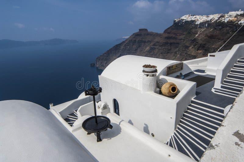 SANTORINI-/GREECEtünche bringt overlookin unter lizenzfreie stockfotografie