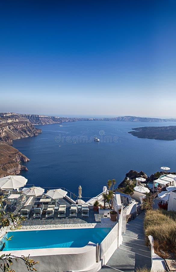 Santorini holiday resort. Image of luxury holiday resort with ocean view. Santorini, Greece royalty free stock photos