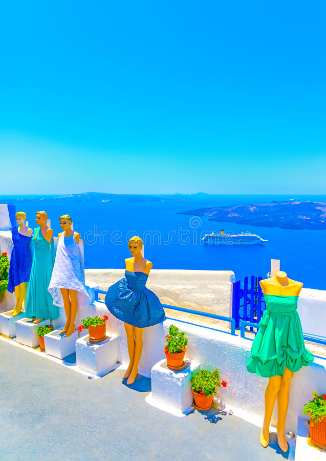 In Santorini-Insel in Griechenland lizenzfreies stockfoto