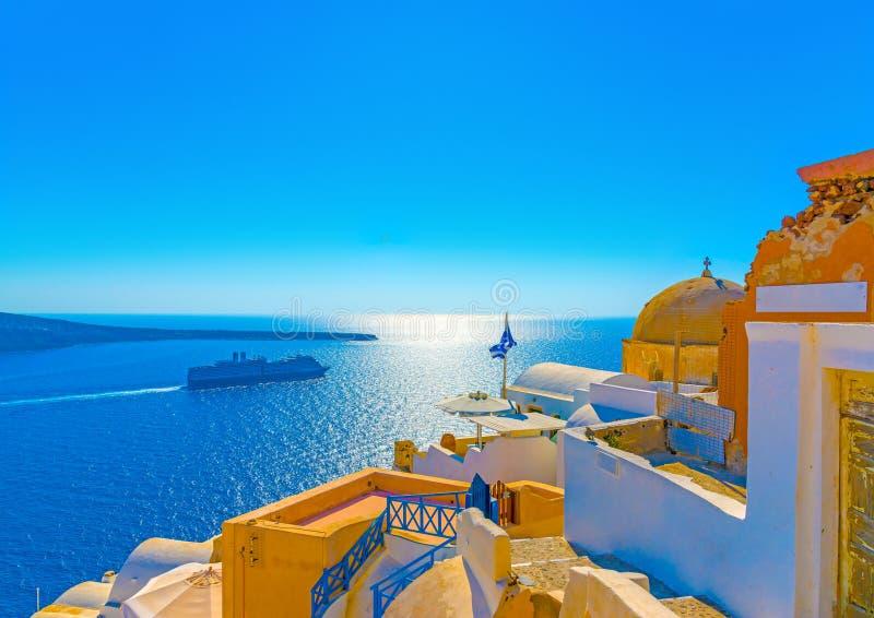 In Santorini-Insel in Griechenland lizenzfreie stockbilder
