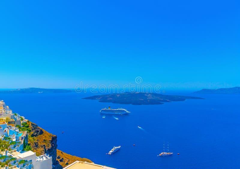 In Santorini-Insel in Griechenland stockbilder