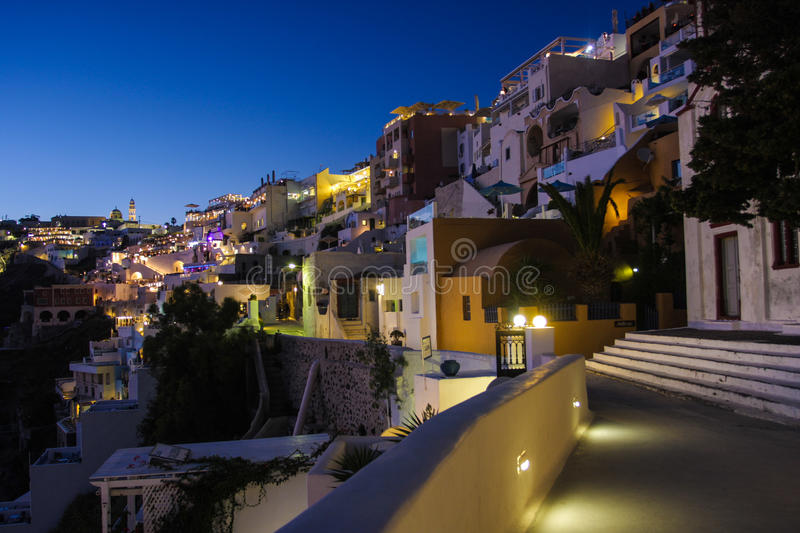 Santorini island Fira city by night royalty free stock photos