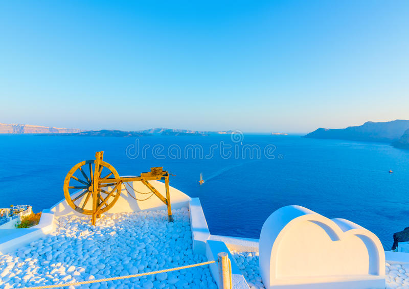 In Santorini island in Greece. Beautiful wooden old tool as a decoration on a terace in Oia the most beautiful village of Santorini island in Greece stock photos
