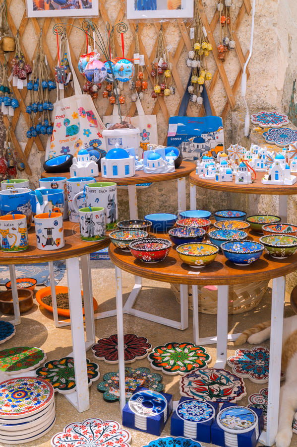 Santorini island, Greece - June 03 2015: Souvenir shop. In Santorini, Greece royalty free stock photo