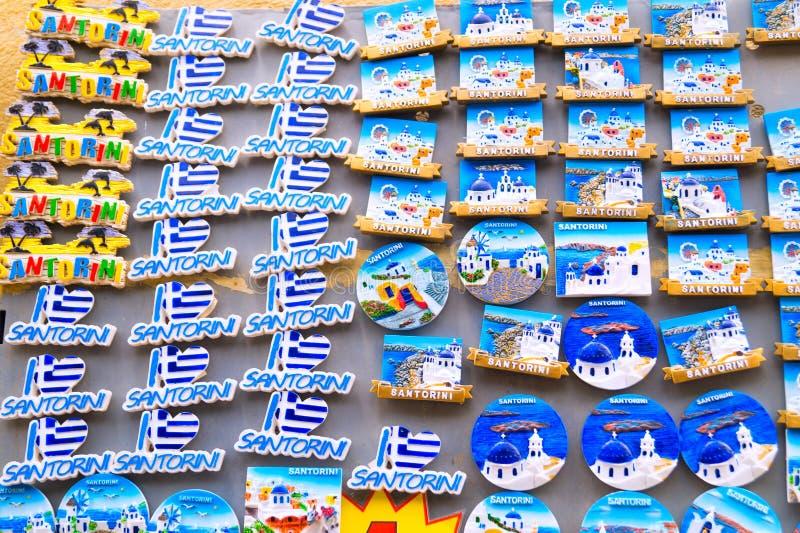 Santorini island, Greece - June 03 2015: Souvenir shop. In Santorini, Greece royalty free stock images