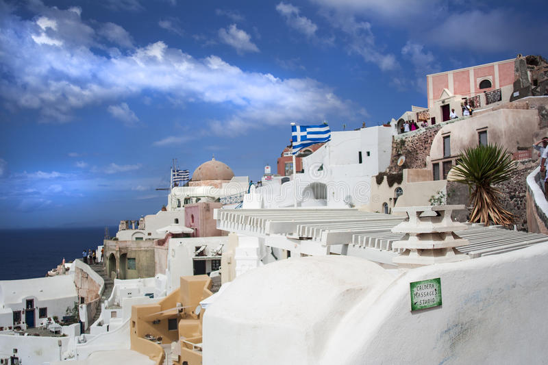 Santorini island, Greece. Oia, Fira town. Traditional and famous houses and churches over the Caldera. Aegean sea royalty free stock images