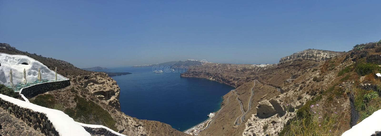 Santorini Island, Greece Panoramic View During a Summer Day from Megalochori stock photography