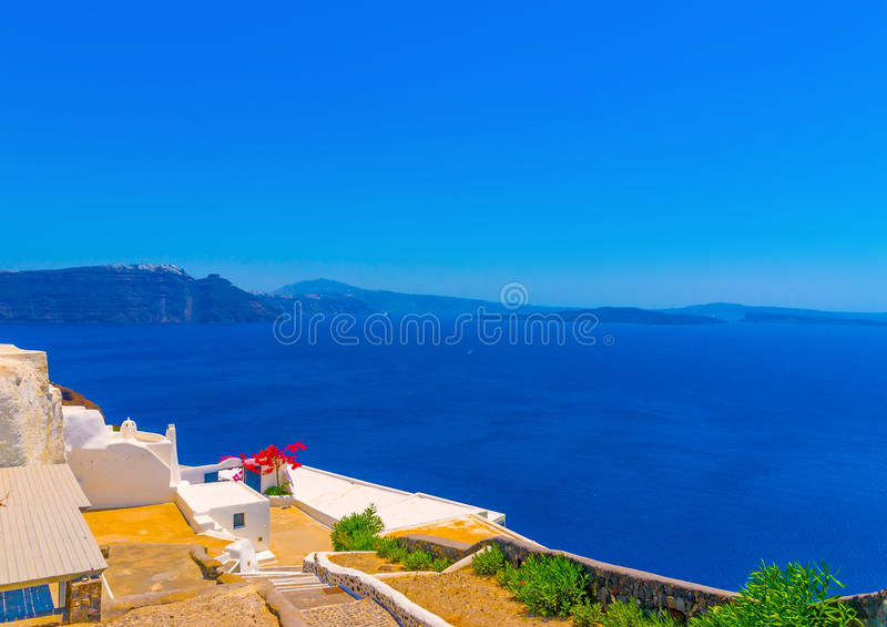 In Santorini island in Greece. View to the sea from Oia the most beautiful village of Santorini island in Greece royalty free stock photo