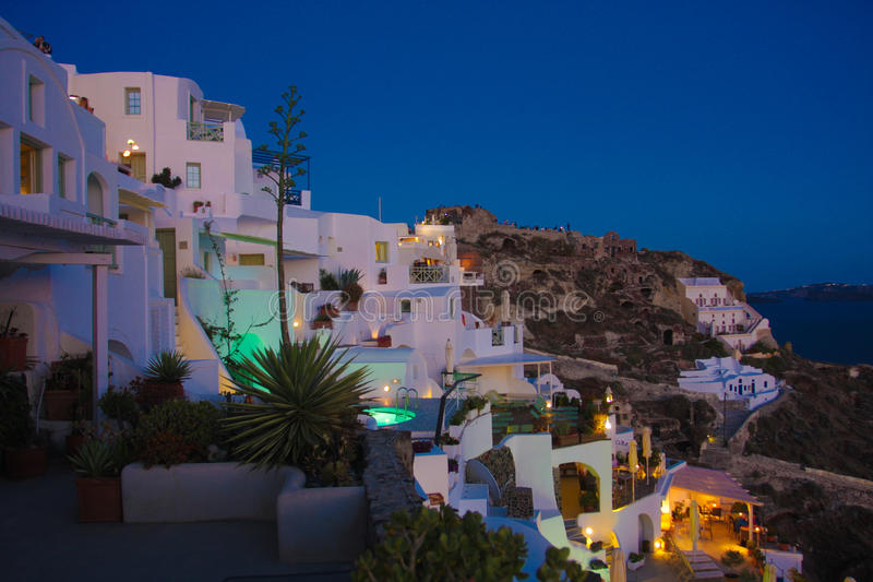 Santorini island, Oia city by night stock photos