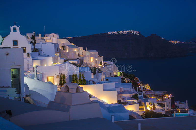 Santorini island Oia city by night royalty free stock image