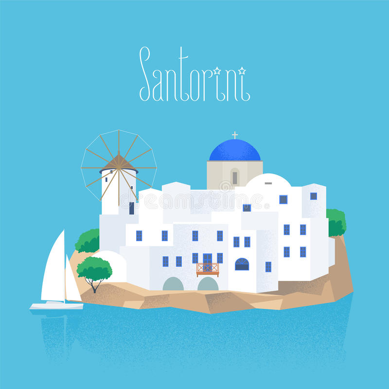 Santorini island vector illustration. Design element with white and blue traditional Santorini houses and church vector illustration