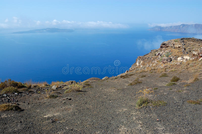 Santorini island volcano view