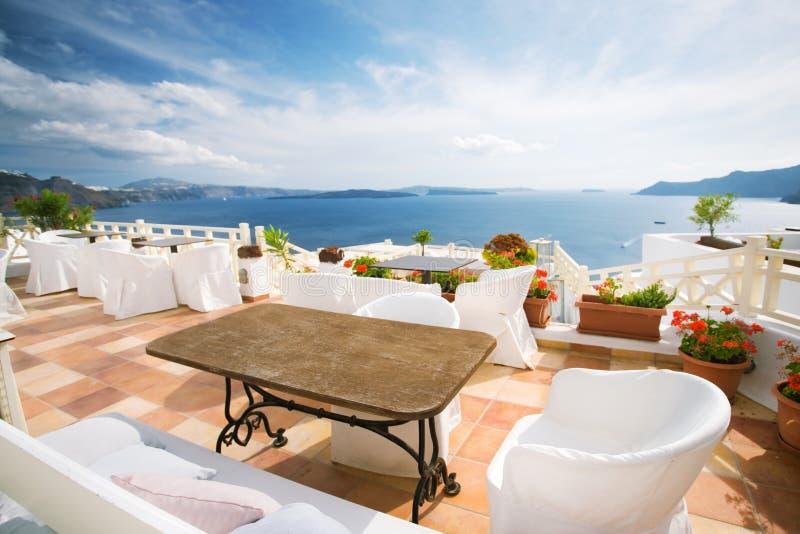 Santorini Kaffee lizenzfreie stockfotografie