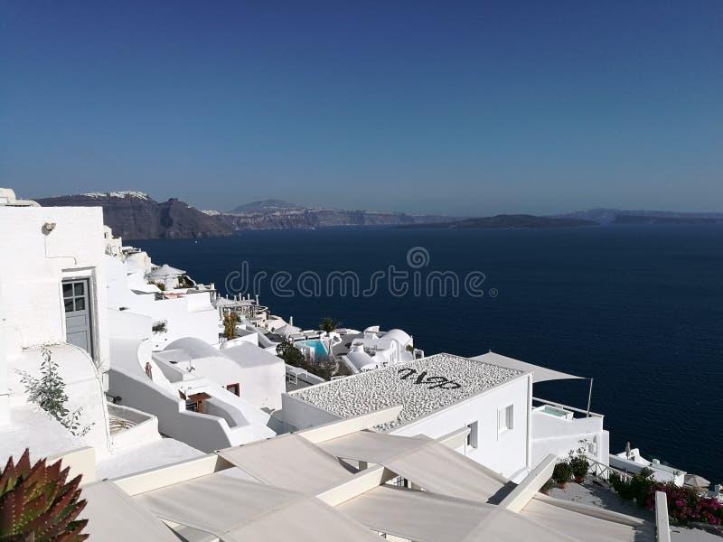 Santorini-Kesselansichten stockbilder