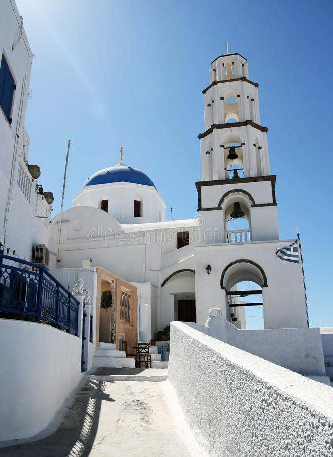 Santorini Kirchen-Szene stockfotografie