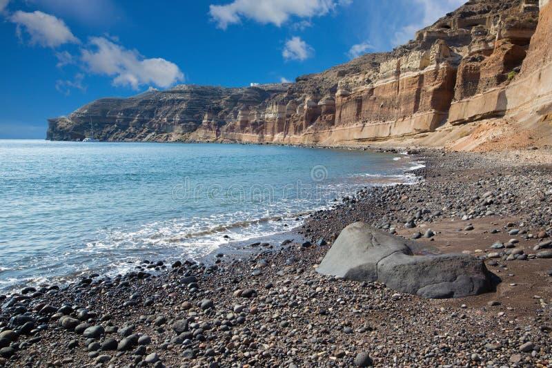 Santorini - la spiaggia nera fotografia stock libera da diritti