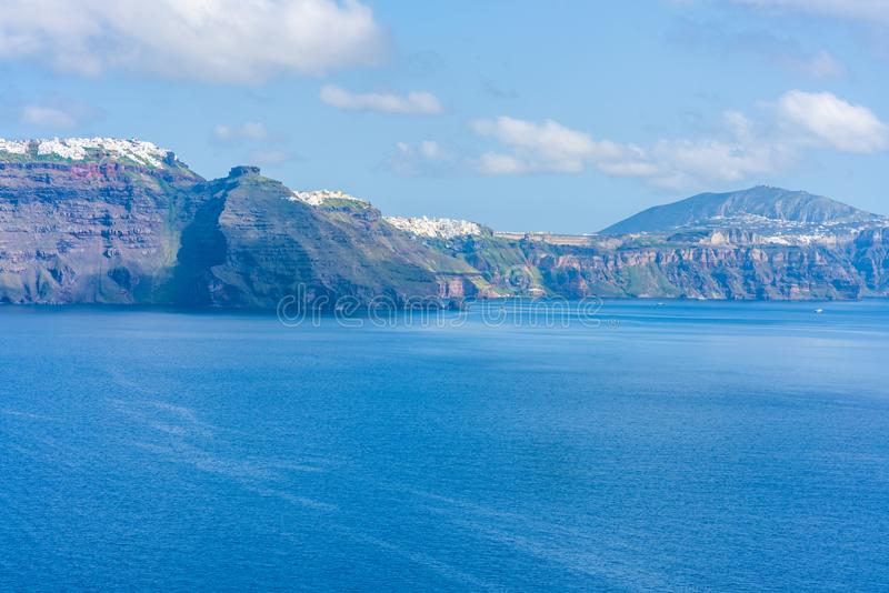 Santorini landscape with view of volcano caldera, Greece royalty free stock photo