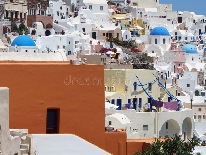 Santorini lavado blanco tradicional Grecia imagenes de archivo