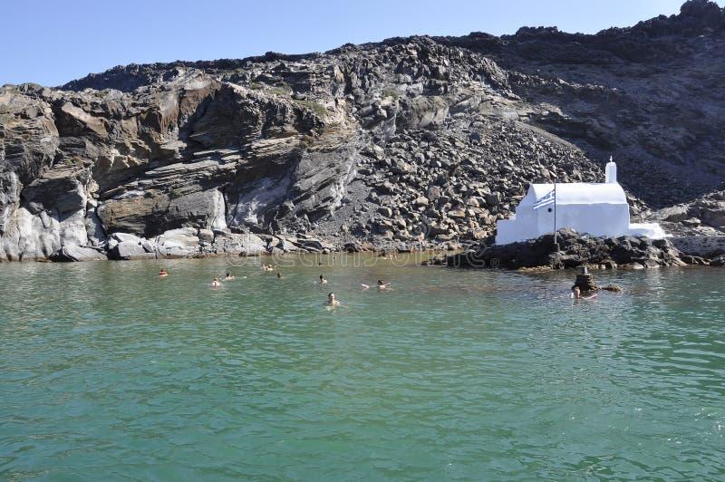 Santorini, le 2 septembre : Bateau à voile journay dans la caldeira de Santorini images stock