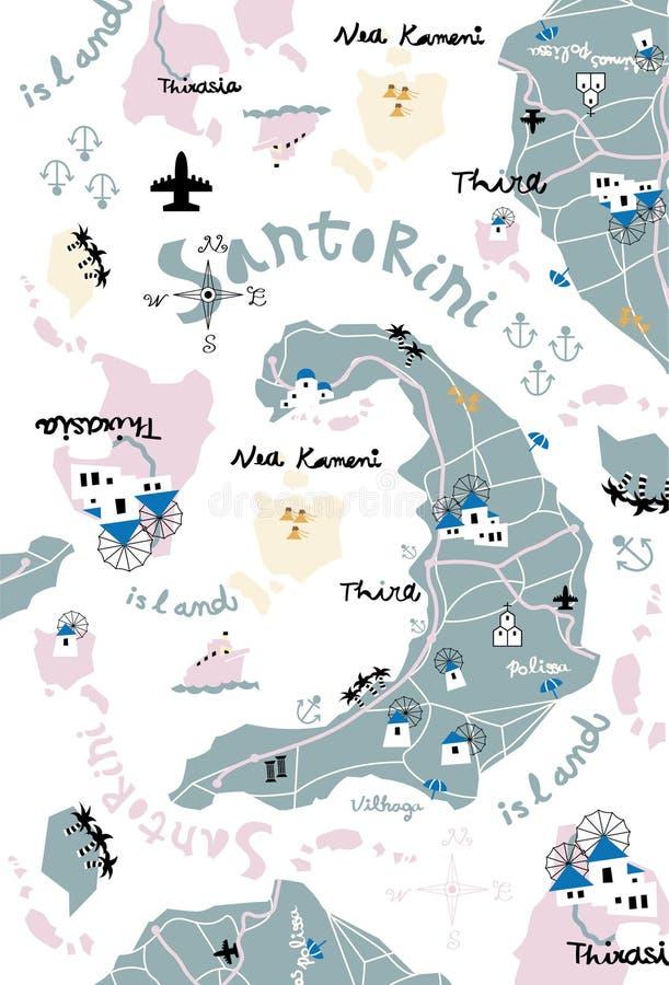 Free Santorini Map Stock Image - 36838131