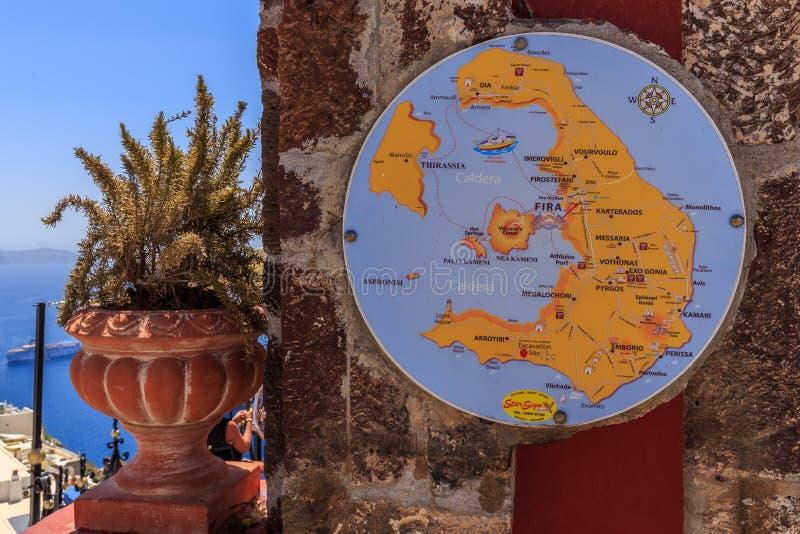 Santorini Map stock photography