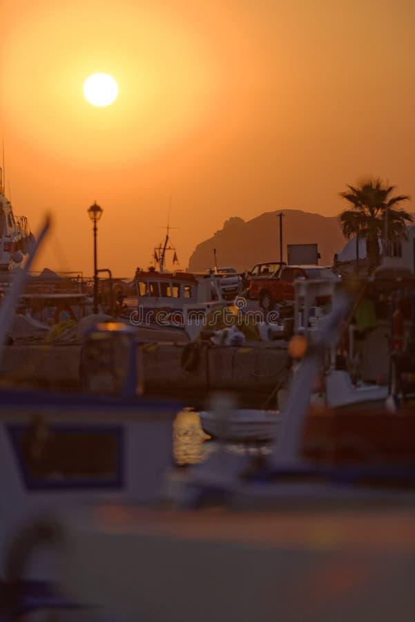 Santorini marina at sunset