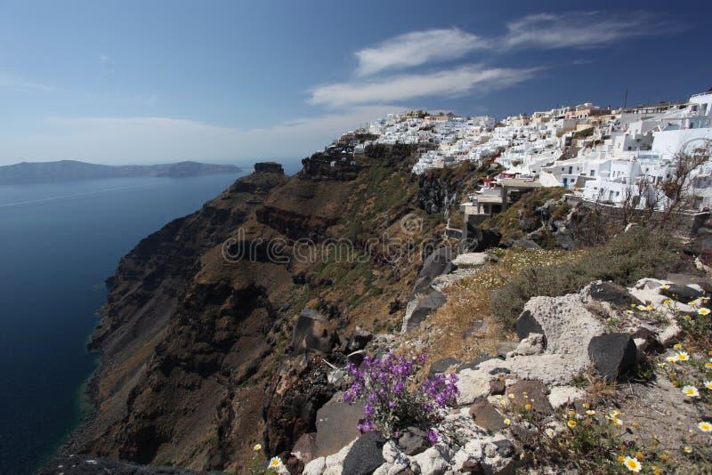 Santorini Met Stad Fira En Overzees-mening In Griekenland Stock Afbeelding