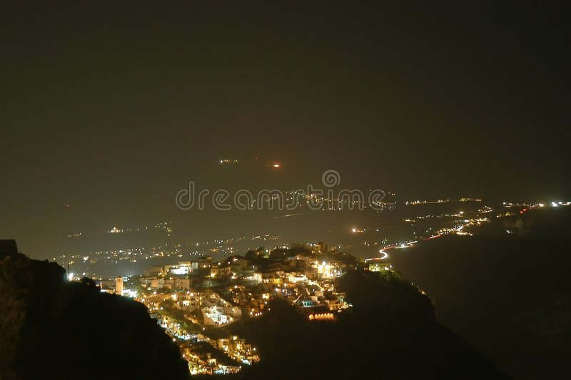 Santorini by night royalty free stock photos