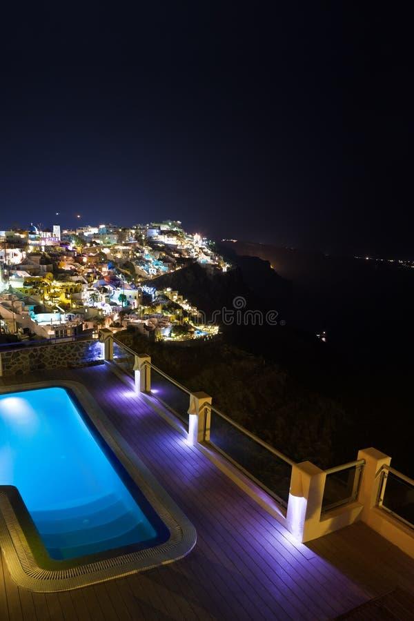 Santorini noc - Grecja obrazy royalty free