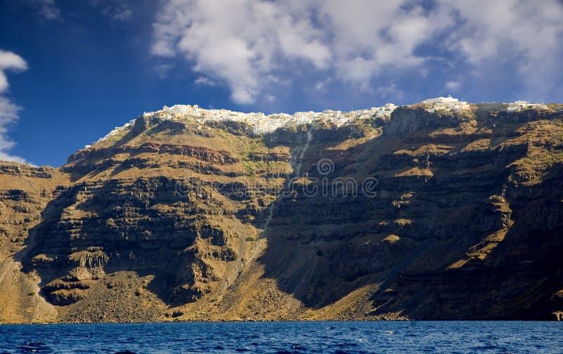 Santorini od morza zdjęcia stock