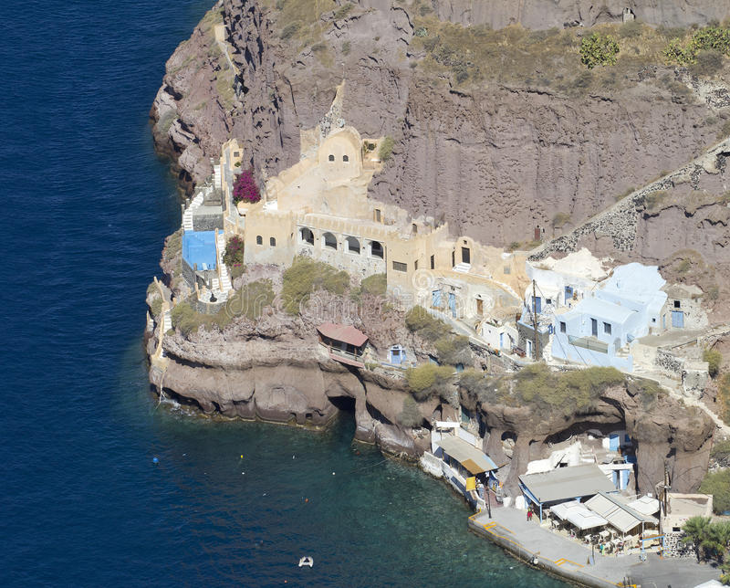 Santorini old port stock photo
