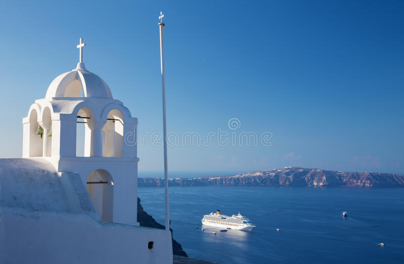 Santorini - The outlook from Fira ower the church tower to caldera. And the cruise stock images