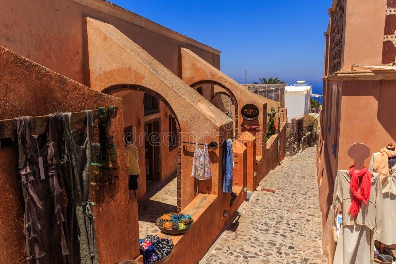 Santorini pamiątkarski sklep obrazy royalty free