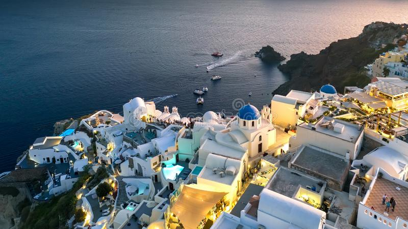 Santorini panorama greece evening, european seaside resort, white houses stock photos