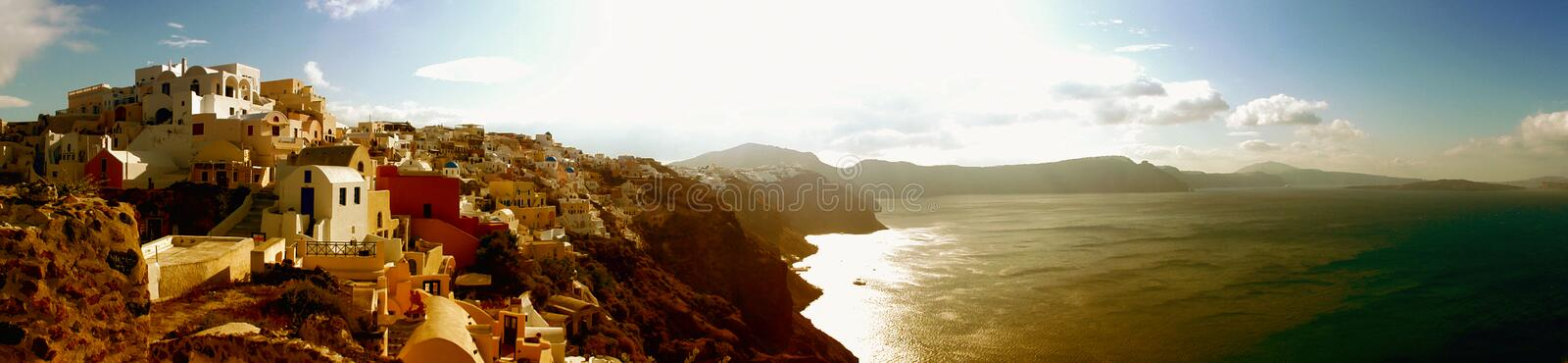 Santorini panorama Oia town traditional houses royalty free stock photography