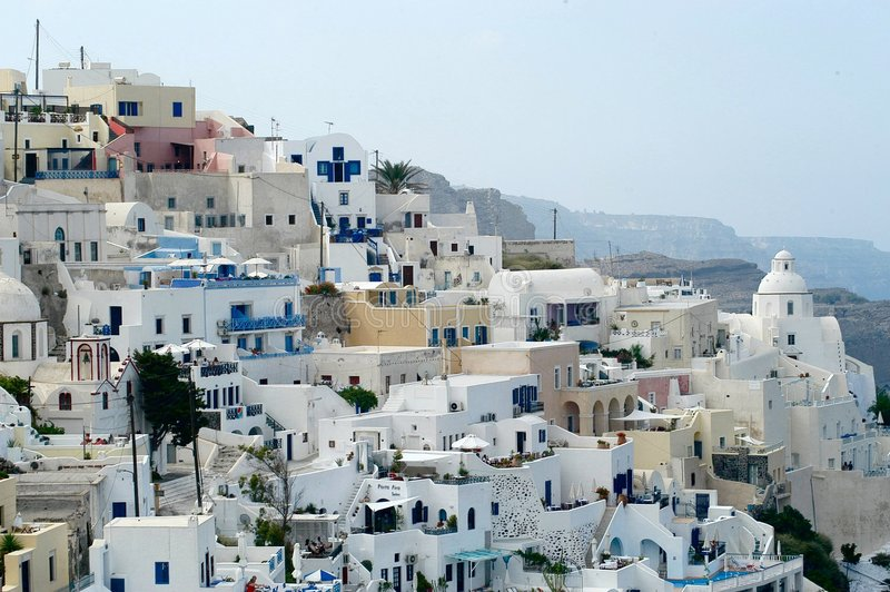 Santorini por día imagen de archivo