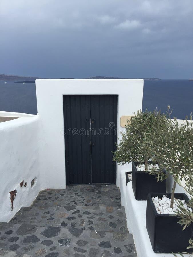 Santorini Romantc Door House Honeymoon. Santorini Romantic Blue Door House Honeymoon White stock photography