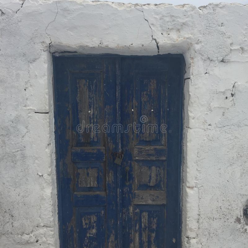 Santorini Romantc Door House Honeymoon. Santorini Romantic Blue Door House Honeymoon White stock image