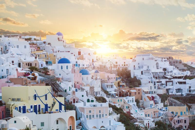 Santorini sightseeing. Beautiful Santorini landscape against sky with clouds royalty free stock photos