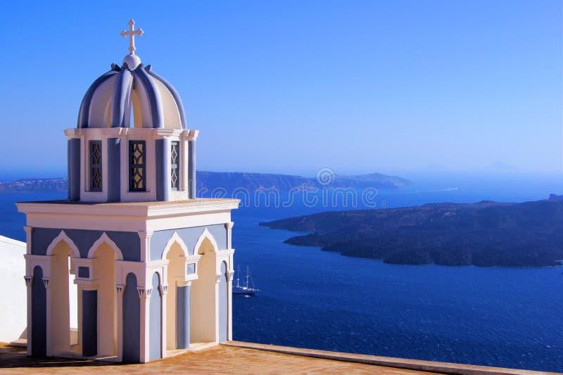 Santorini sikter, Grekland arkivfoto
