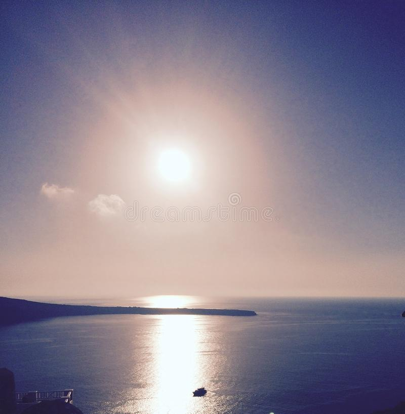 Santorini Sonnenuntergang lizenzfreies stockfoto