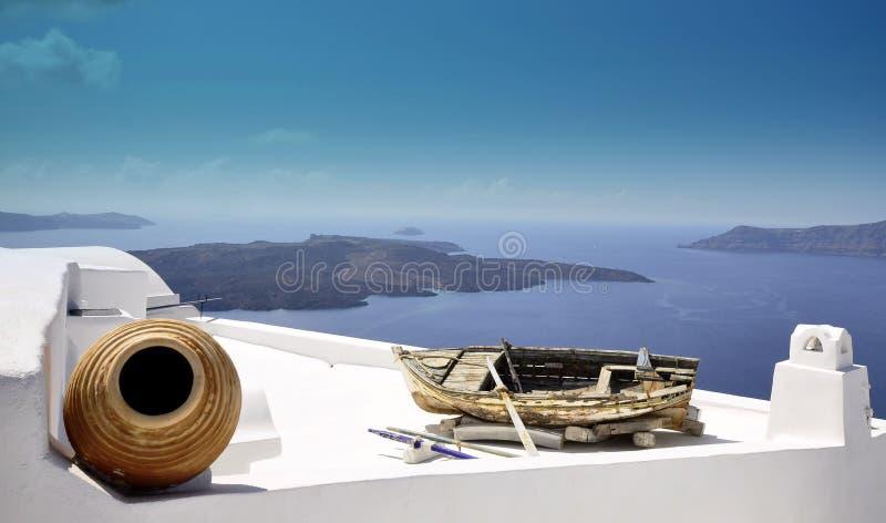 Santorini, stad Thira stock afbeeldingen