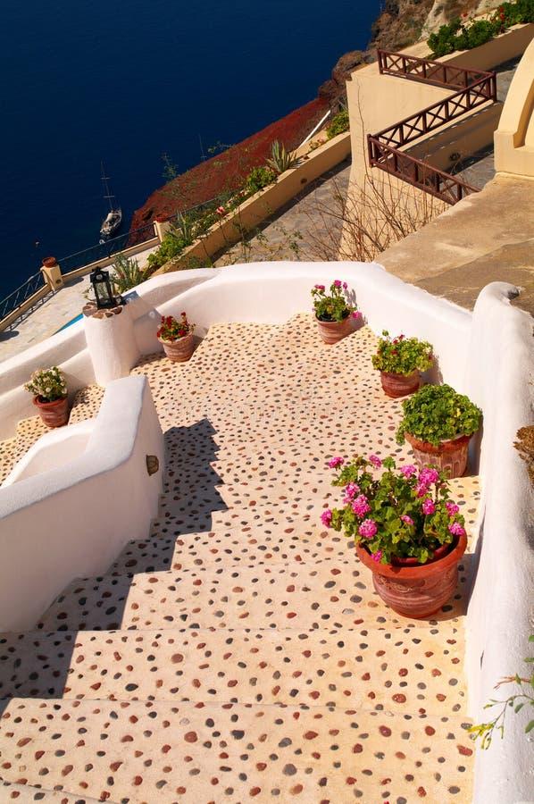 Santorini steps stock photography